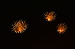 Colourful fireworks explosion in dark background close up with the place for text, Malta fireworks festival, 4 of July, explode Royalty Free Stock Photography