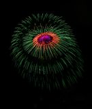Colourful fireworks in Valletta, Malta, fireworks festival 2015 in Malta, fireworks in Valletta isolated in dark background with t Royalty Free Stock Photo