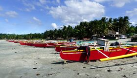 Colourful fishermens boats. Ilocos Norte. Royalty Free Stock Photo