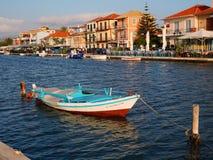 Colourful Fishing Boat, Lefkada Greek Island, Greece. A colourful traditional wooden fishing boat in the lagoon or inner harbour, Lefkada, an Ionian Greek Island royalty free stock photos