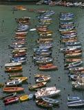 Colourful fishing boats royalty free stock photos