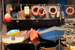 Colourful fishing boats. Italy. Small boats and fishing gear in the Italian sunshine Stock Photography