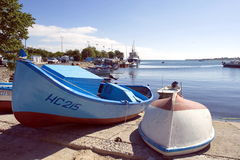 Colourful fishing boats at the pier. In Black sea in Neseber city in Bulgaria Royalty Free Stock Images