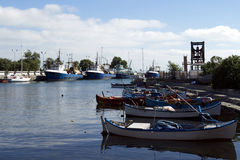 Colourful fishing boats at the pier Royalty Free Stock Photo