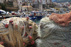 Colourful fishing nets at the fishing harbour of Castellammare Royalty Free Stock Photo