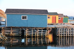 Colourful fishing stages royalty free stock photography