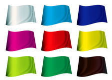 Colourful flag. Brightly coloured plain flag fluttering in the wind stock illustration
