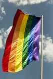 Colourful flag symbol of gay culture. Rainbow flag - LGBT symbol - for gay, lesbian, bisexual or transgender royalty free stock image