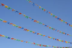 Colourful flags. In the sky Stock Photo