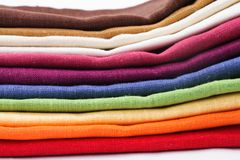 Colourful flax texrile heap Royalty Free Stock Photos
