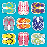 Colourful flip flop collection Stock Image