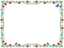 Colourful floral frame as a greeting card. Colourful ornate swirl floral frame with flowers and butterfly on the white background as a greeting card vector Stock Photo