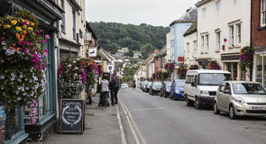 Colourful flower displays in main road in Wotton-under-Edge, Royalty Free Stock Images