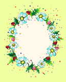 Colourful flower frame. Colourful frame composed of rosebuds and daisies royalty free illustration