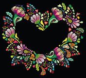 Colourful flower heart. Colourful flower frame on black background royalty free illustration