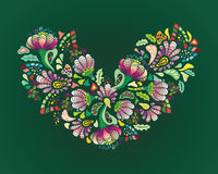 Colourful flower heart. Colourful flower Valentine heart on green background stock illustration