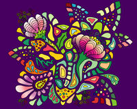 Colourful flower pattern on violet background. Bunch of beautiful colourful flowers placed on a violet background stock illustration