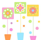 Colourful Flowers. Colourful illustration of blooming flowers, isolated on white background Royalty Free Stock Image