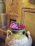 Colourful Flowers in Ancient Greek Urn Stock Image