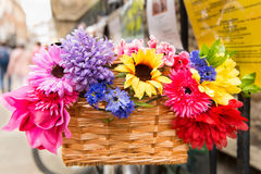 Colourful flowers in bike basket Stock Photo