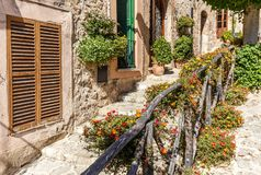 Free Colourful Flowers In The Streets Of Valldemossa Stock Photo - 162863840
