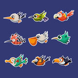 Colourful Flying Birds in Profile Vector Stock Images