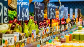 Colourful food market impressions in barcelona spain Stock Images