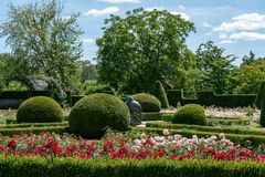 Formal rosarium with trimmed bushes stock photo