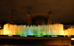 Colourful fountain. In a park in Prague Royalty Free Stock Photos