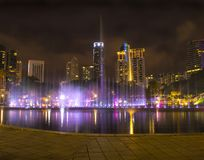 Colourful fountain in the night with nobody, Kuala Lumpur city c. Entre Royalty Free Stock Image