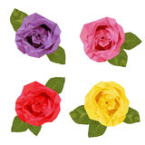 Colourful four roses polygon Royalty Free Stock Images