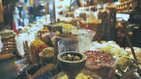 Colourful and fragrant spices. The merchant market. stock video footage