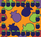 Colourful frame with blackberries. Vector illustration of a blackberries frame and colourful background Stock Photos