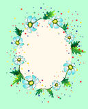 Colourful frame composed of daisies. Cute greeting card depicting daisies, leaves and colourful bubbles vector illustration