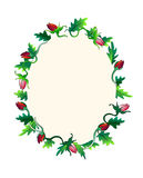 Colourful frame composed of roses. Cute greeting card depicting leaves and colourful bubbles stock illustration