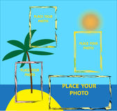 Colourful frame for placement of photos. Vector drawing with the image of the island with a palm tree and a figured framework for photos Stock Photography