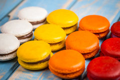 Colourful french macaroons Stock Photos