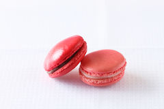 Colourful french macaroons on white background Stock Photos