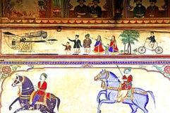 colourful frescoes india mandawa Στοκ φωτογραφία με δικαίωμα ελεύθερης χρήσης