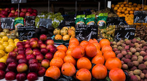 Colourful fresh fruit and vegetables on display in street market royalty free stock photos