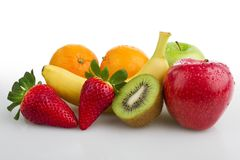 Colourful fresh fruits white background. Colourful fresh isolated fruits, on white background Royalty Free Stock Image