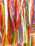 Colourful fringes  - part of beautiful handmade craft. Colourful fringes - part of  handmade craft Stock Photo