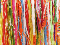 Colourful fringes  - part of beautiful handmade craft Royalty Free Stock Images