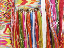 Colourful fringes  - part of beautiful handmade craft Royalty Free Stock Photos