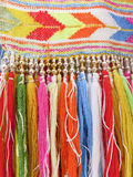 Colourful fringes  - part of beautiful handmade craft. Colourful fringes - part of  handmade craft Royalty Free Stock Image
