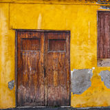 Colourful front doors to house Stock Photos