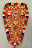 Colourful Froth. Important ornament using for elephants in traditional occasions in Kerala. Made by coated  gold plates and glittering metallic piece with Stock Photo