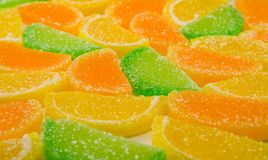 Colourful fruit candies. Close-up of colourful fruit candies stock photography