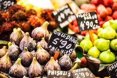 Colourful fruit and figs at market stall in Boqueria market in Barcelona. Royalty Free Stock Photo