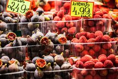 Colourful fruit and figs at market stall in Boqueria market in Barcelona. Stock Images